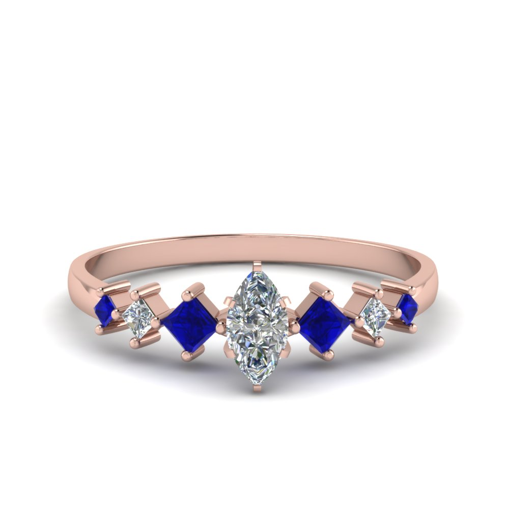 marquise cut kite set diamond ring with blue sapphire in FDENS3126MQRGSABL NL RG