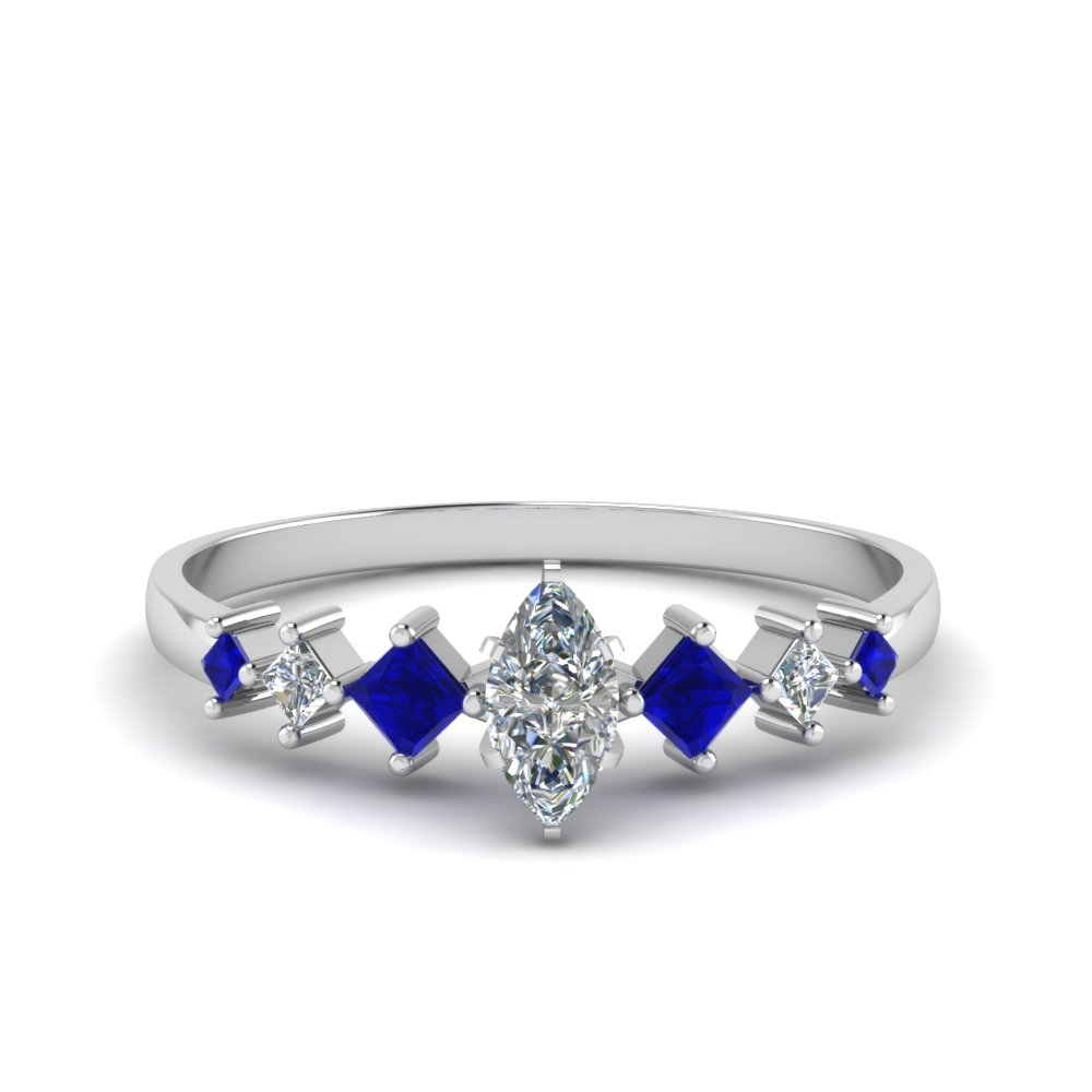 marquise cut kite set diamond ring with blue sapphire in 14K white gold FDENS3126MQRGSABL NL WG