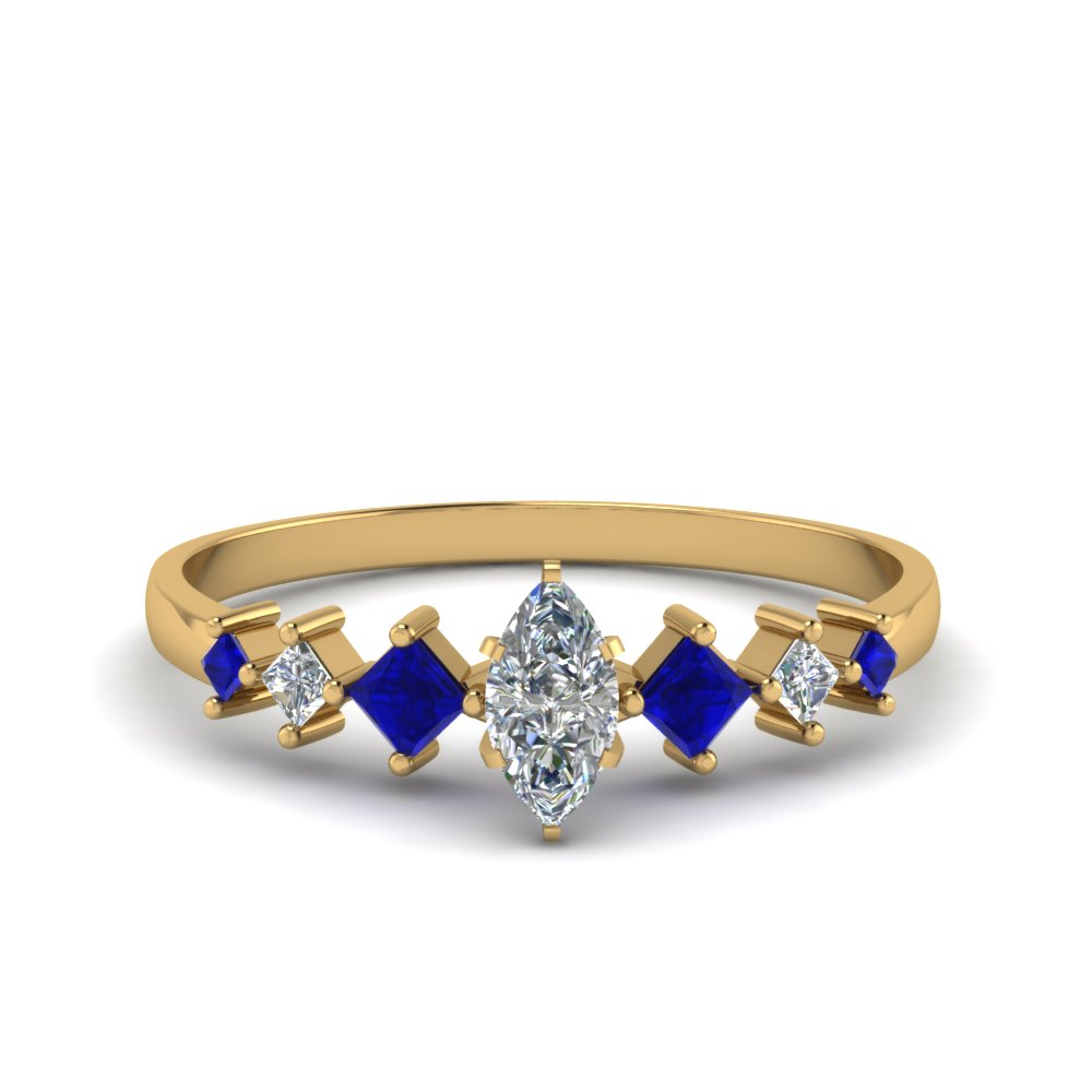 marquise cut kite set diamond ring with blue sapphire in 14K yellow gold FDENS3126MQRGSABL NL YG