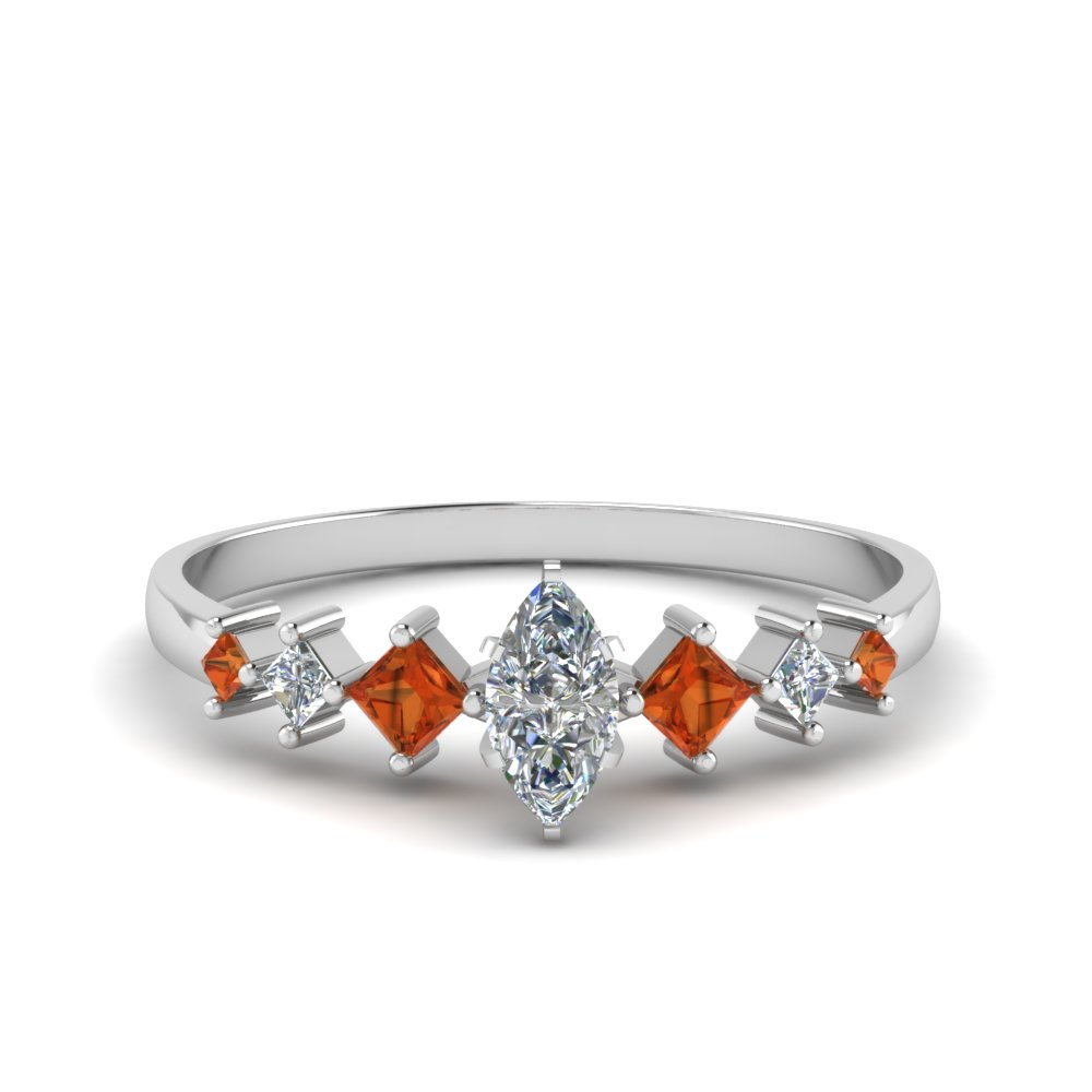 marquise cut kite set diamond ring with orange sapphire in 14K white gold FDENS3126MQRGSAOR NL WG