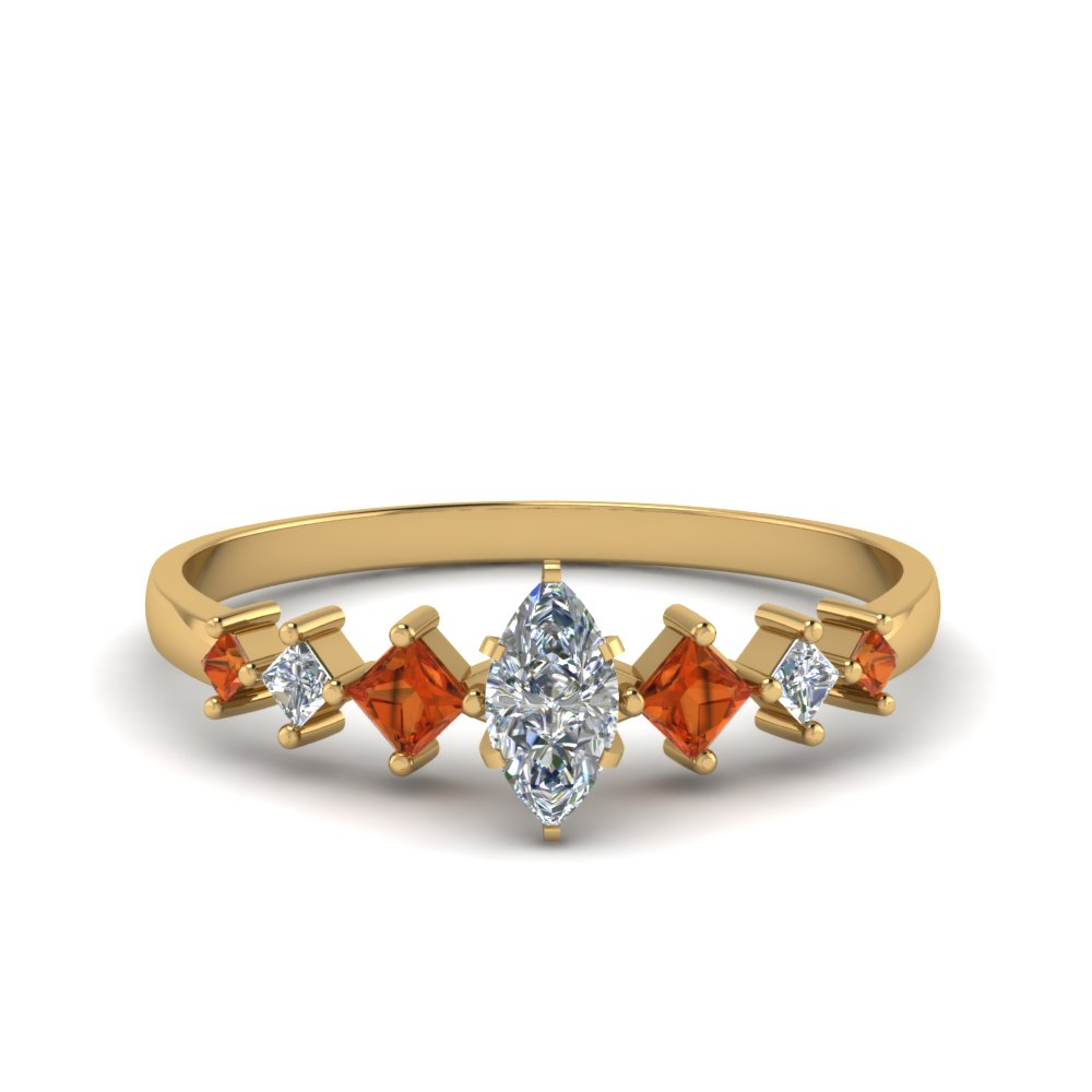 marquise cut kite set diamond ring with orange sapphire in 14K yellow gold FDENS3126MQRGSAOR NL YG