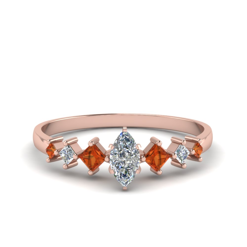 marquise cut kite set diamond ring with orange sapphire in 18K rose gold FDENS3126MQRGSAOR NL RG