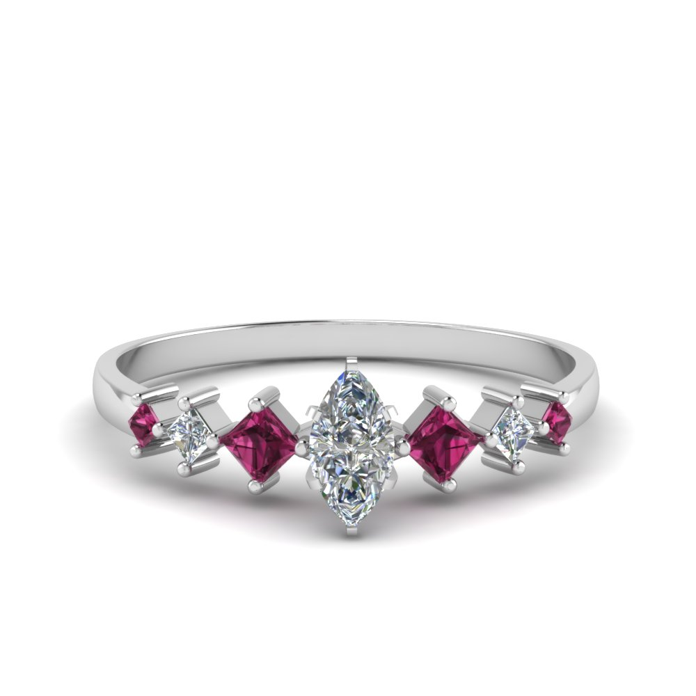 marquise cut kite set diamond ring with pink sapphire in 14K white gold FDENS3126MQRGSADRPI NL WG