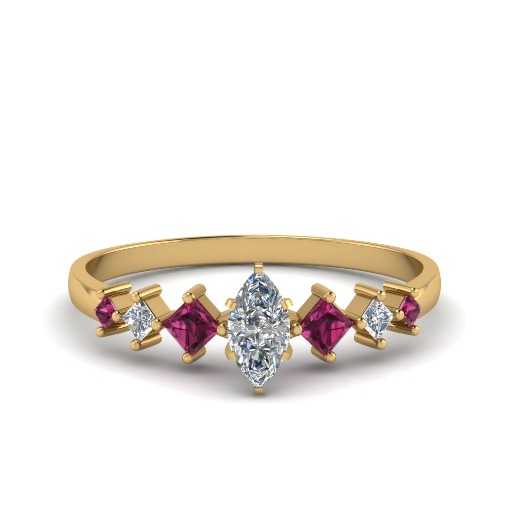 marquise cut kite set diamond ring with pink sapphire in 14K yellow gold FDENS3126MQRGSADRPI NL YG