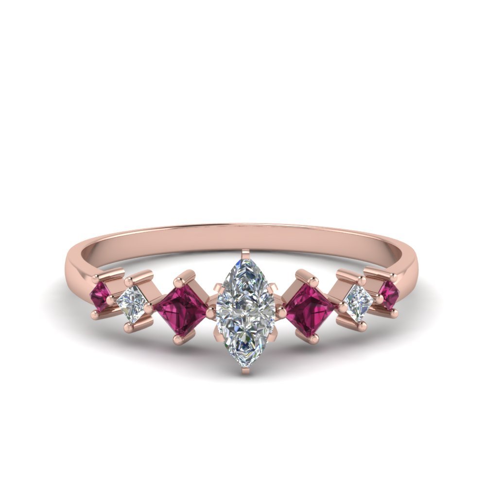 marquise cut kite set diamond ring with pink sapphire in 18K rose gold FDENS3126MQRGSADRPI NL RG