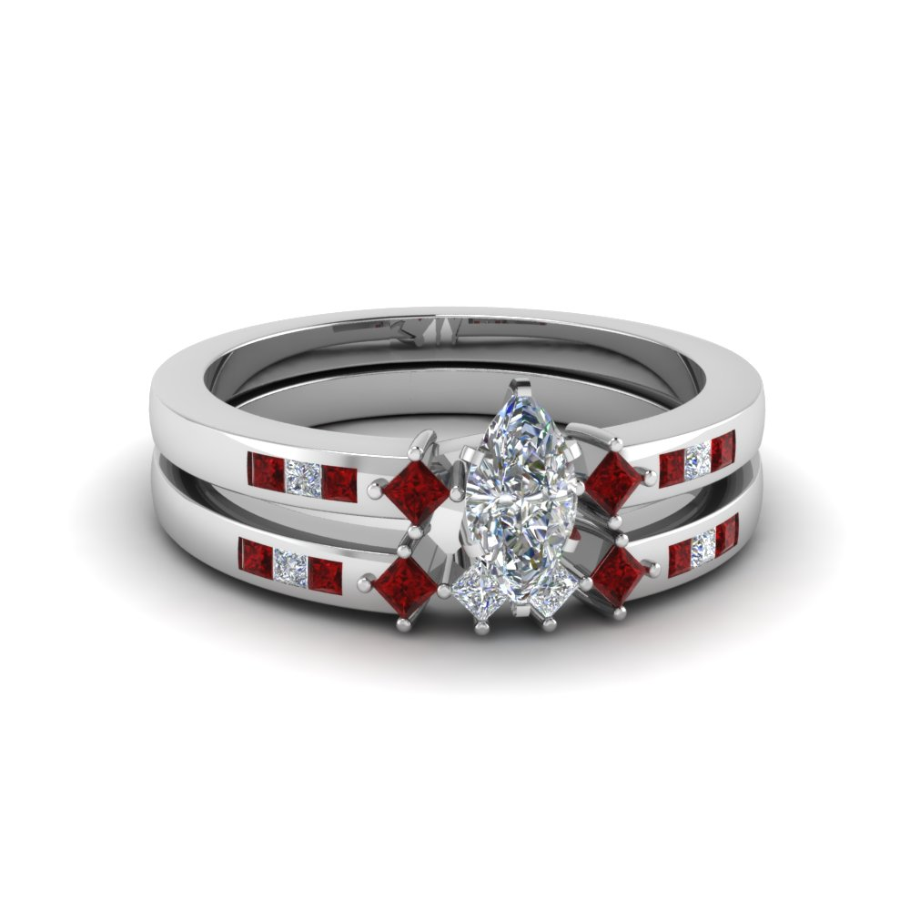 marquise cut kite style channel set accent diamond wedding ring set with ruby in 18K white gold FDENS3121MQGRUDR NL WG