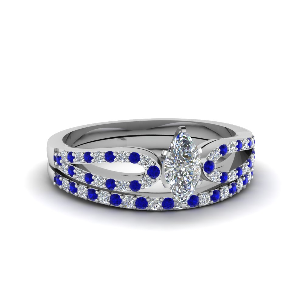 marquise cut loop diamond ring with sapphire matching band in 14K white gold FDENS3323MQGSABL NL WG