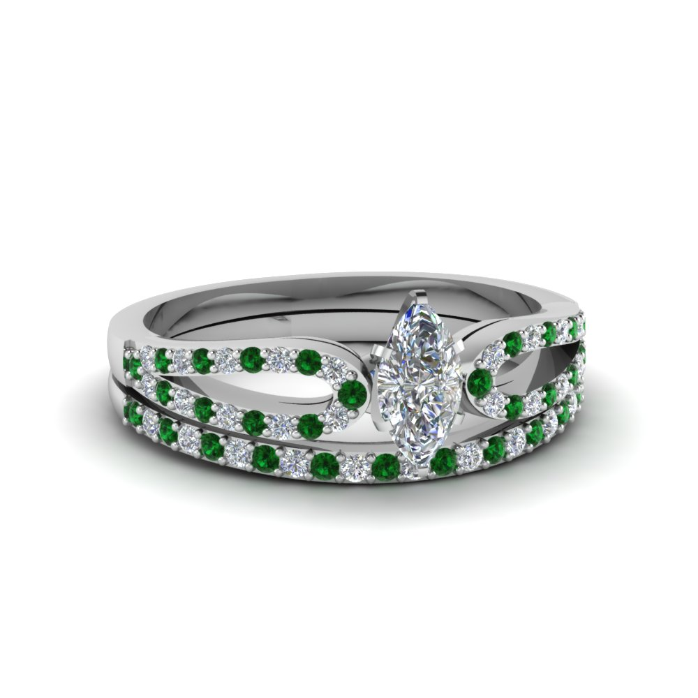 Marquise Shaped Green Emerald Wedding Sets