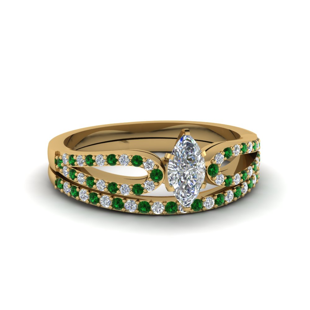 marquise cut loop diamond ring with emerald matching band in 18K yellow gold FDENS3323MQGEMGR NL YG