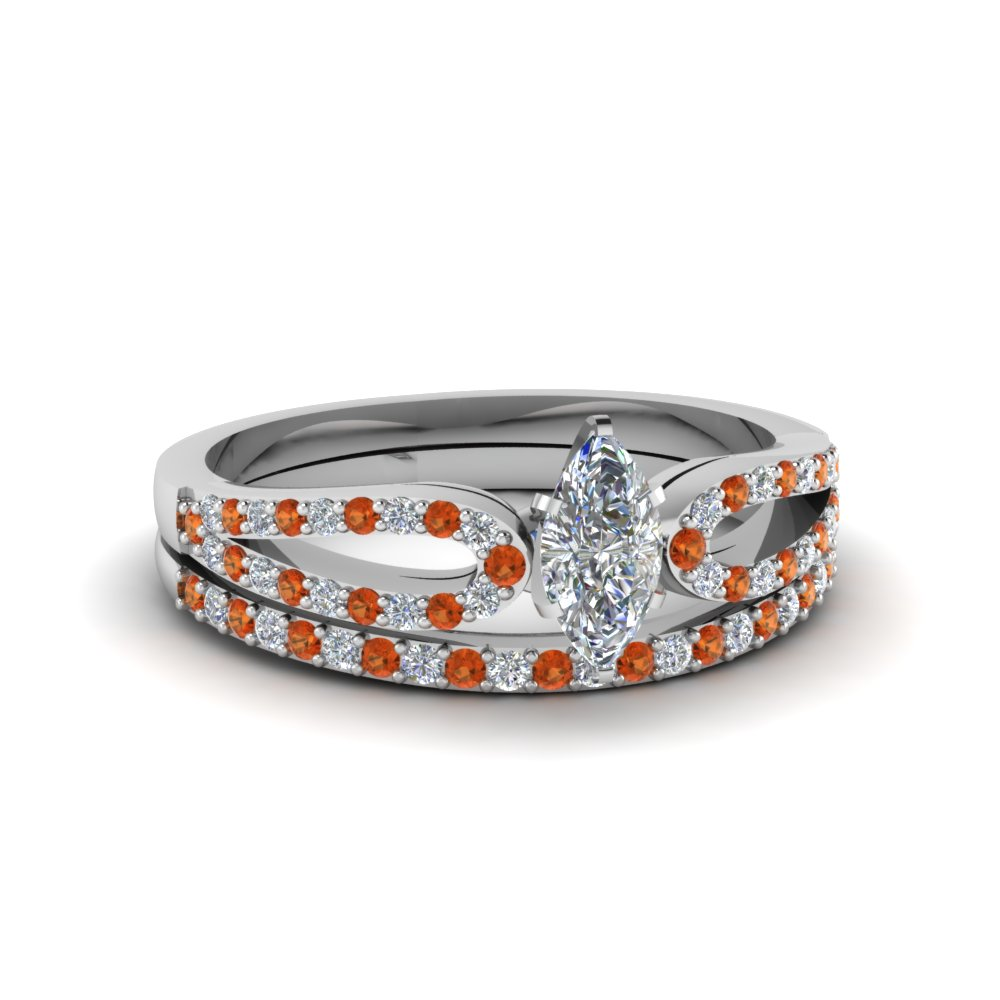 marquise cut loop diamond ring with orange sapphire matching band in 14K white gold FDENS3323MQGSAOR NL WG