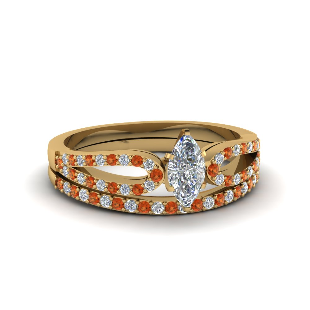 marquise cut loop diamond ring with orange sapphire matching band in 18K yellow gold FDENS3323MQGSAOR NL YG