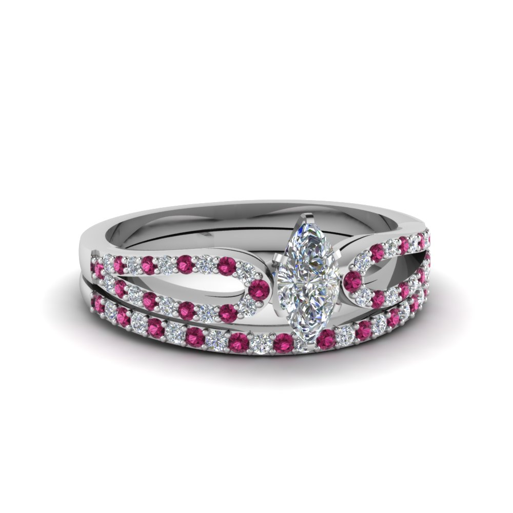 marquise cut loop diamond ring with pink sapphire matching band in 14K white gold FDENS3323MQGSADRPI NL WG