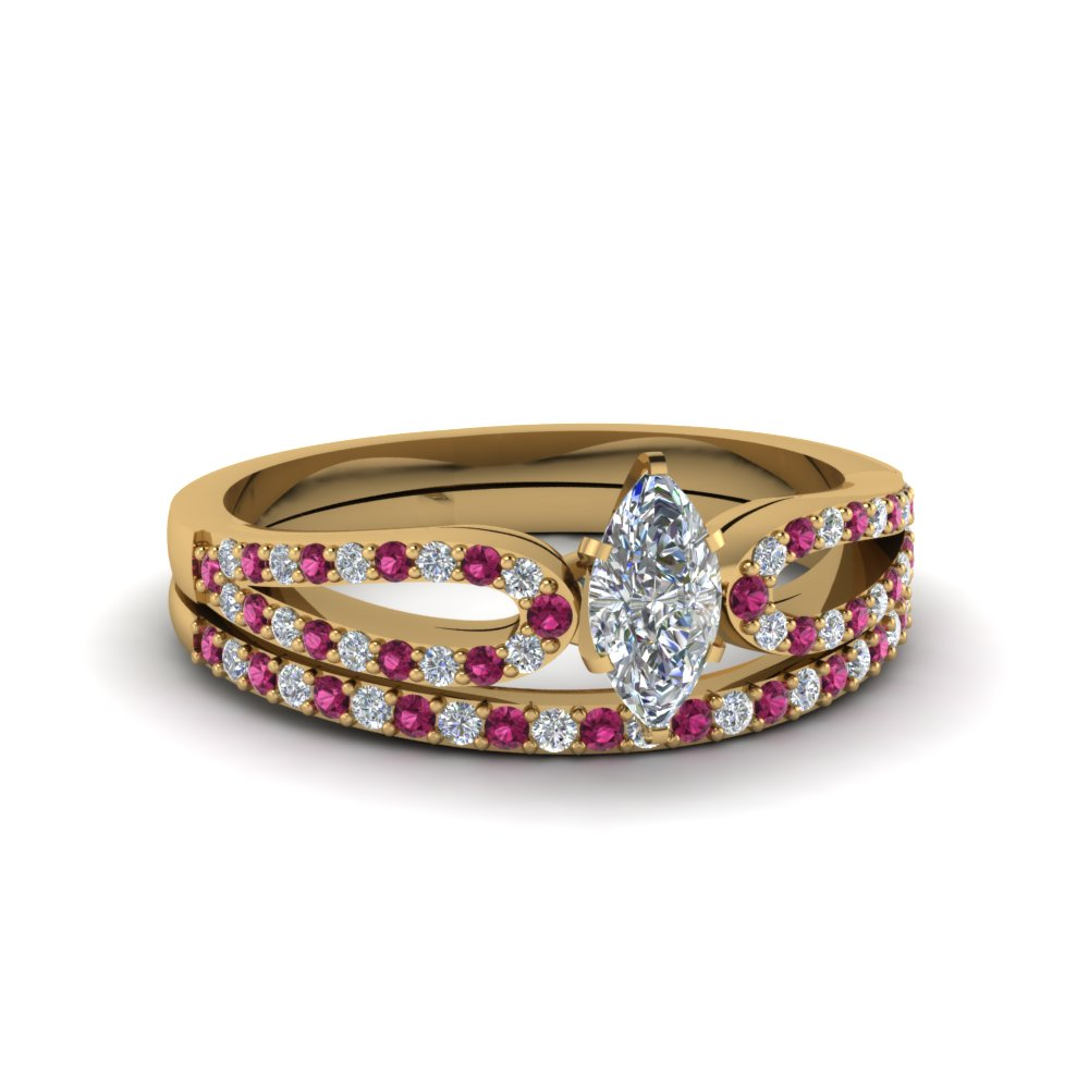 marquise cut loop diamond ring with pink sapphire matching band in 14K yellow gold FDENS3323MQGSADRPI NL YG