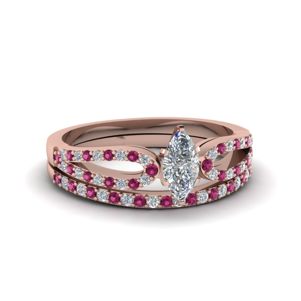 marquise cut loop diamond ring with pink sapphire matching band in 18K rose gold FDENS3323MQGSADRPI NL RG