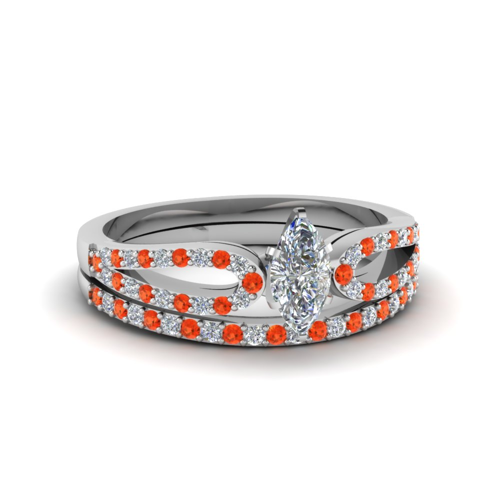 marquise cut loop diamond ring with orange topaz matching band in 14K white gold FDENS3323MQGPOTO NL WG