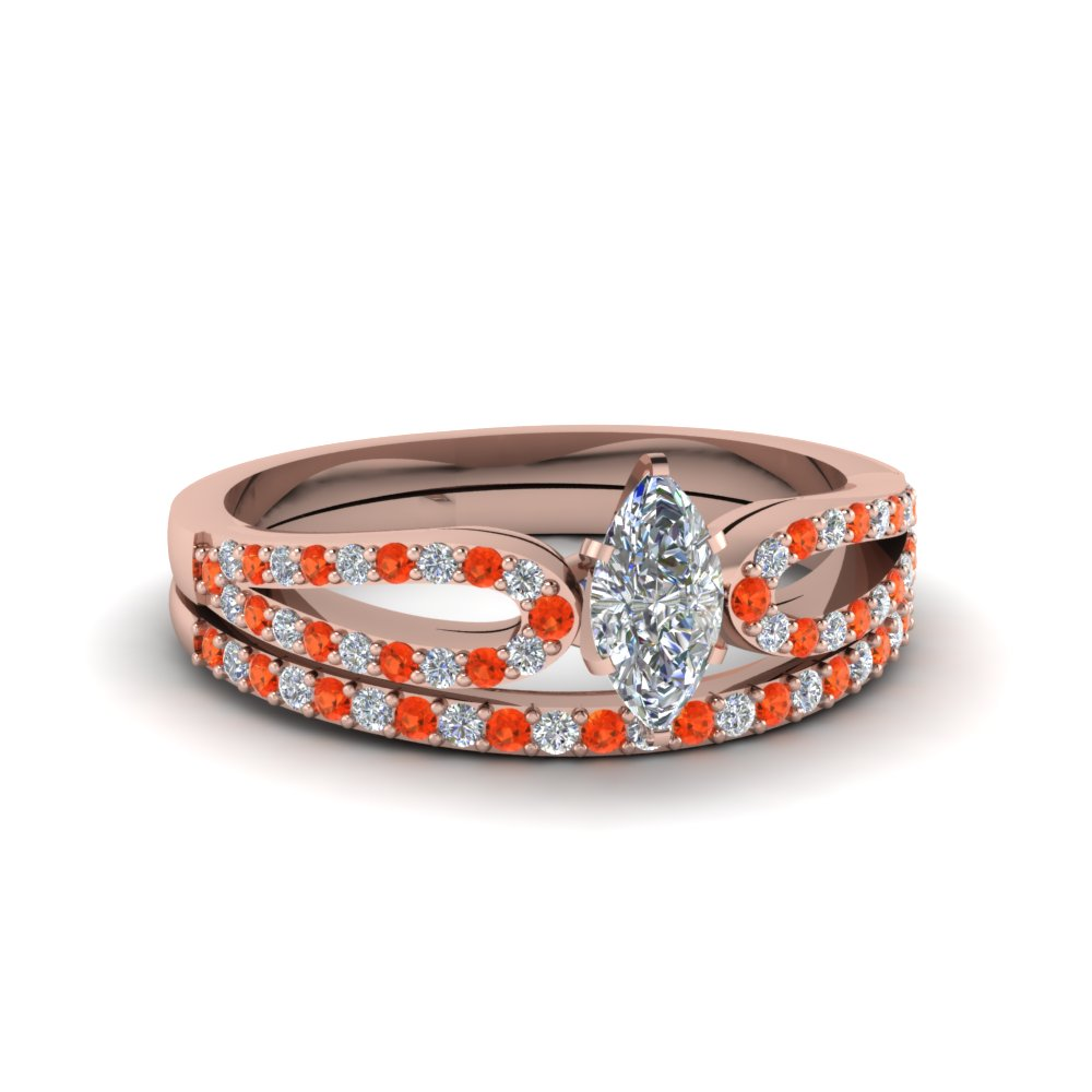 marquise cut loop diamond ring with orange topaz matching band in 18K rose gold FDENS3323MQGPOTO NL RG