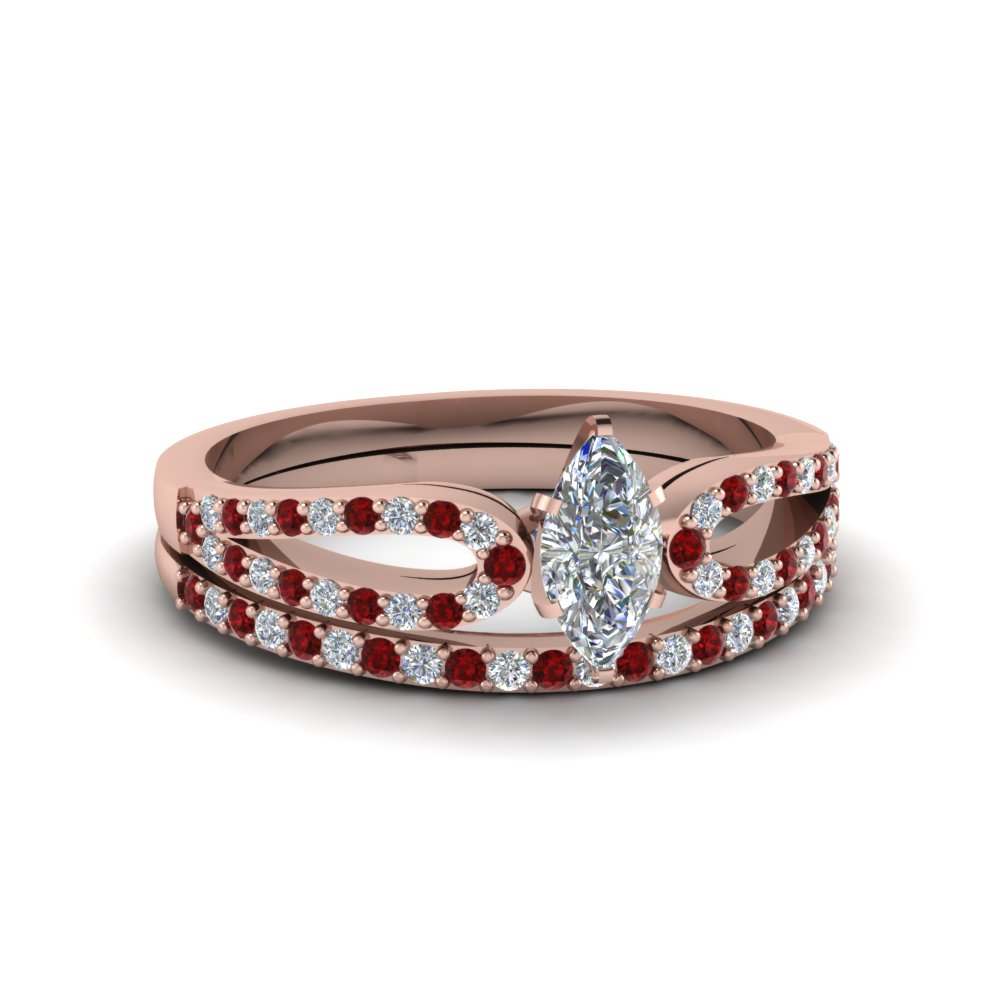 marquise cut loop diamond ring with ruby matching band in 18K rose gold FDENS3323MQGRUDR NL RG