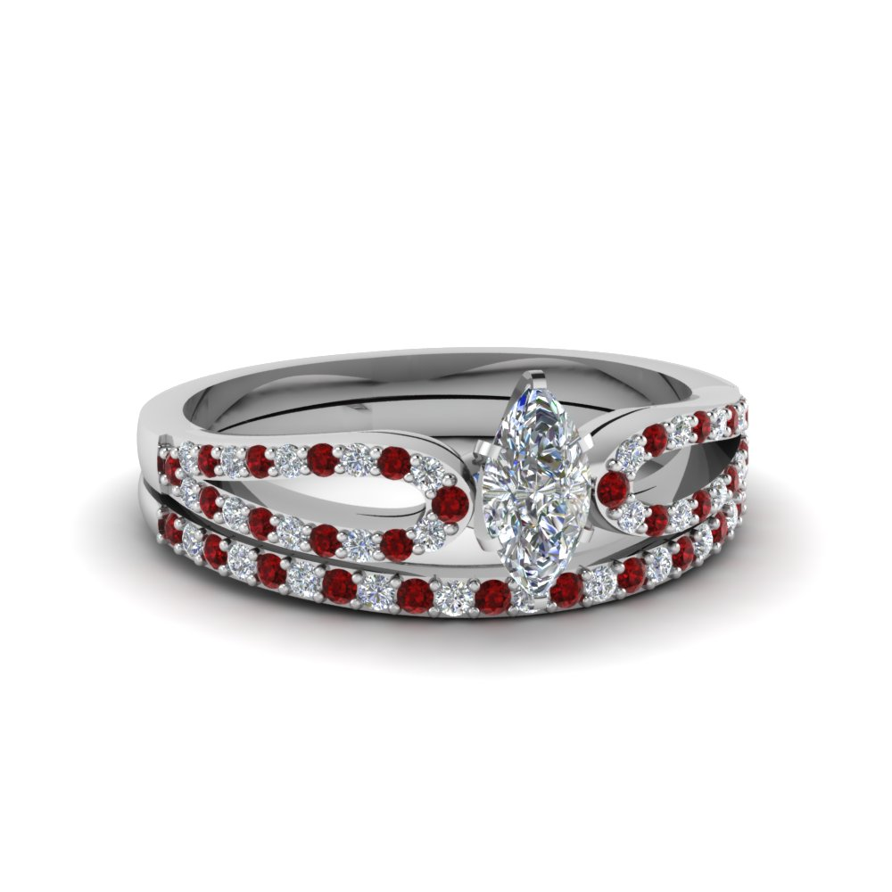 marquise cut loop diamond ring with ruby matching band in 18K white gold FDENS3323MQGRUDR NL WG