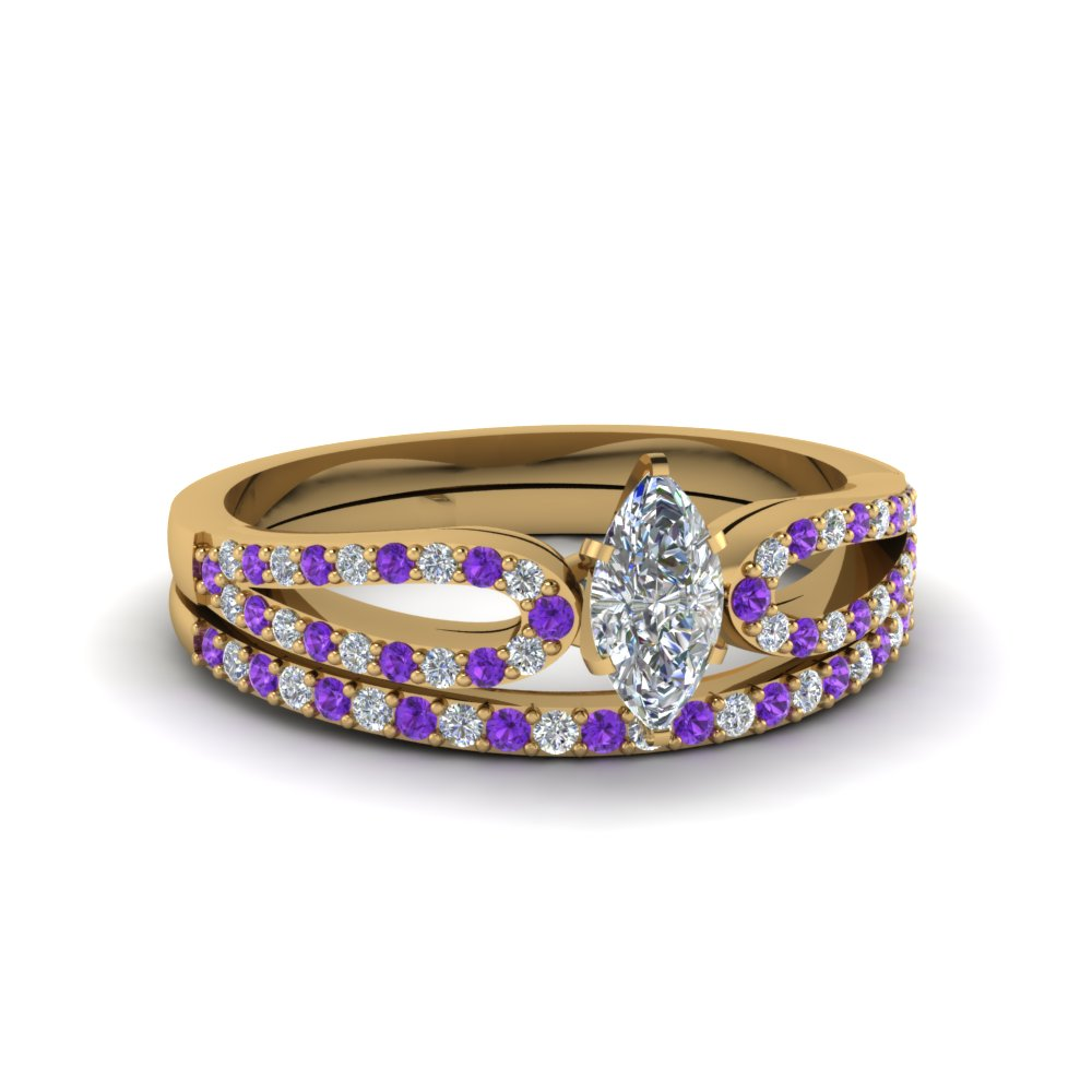 marquise cut loop diamond ring with violet topaz matching band in 18K yellow gold FDENS3323MQGVITO NL YG