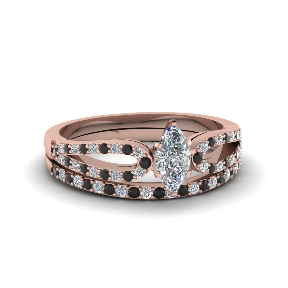marquise cut loop ring with black diamond matching band in 14K rose gold FDENS3323MQGBLACK NL RG
