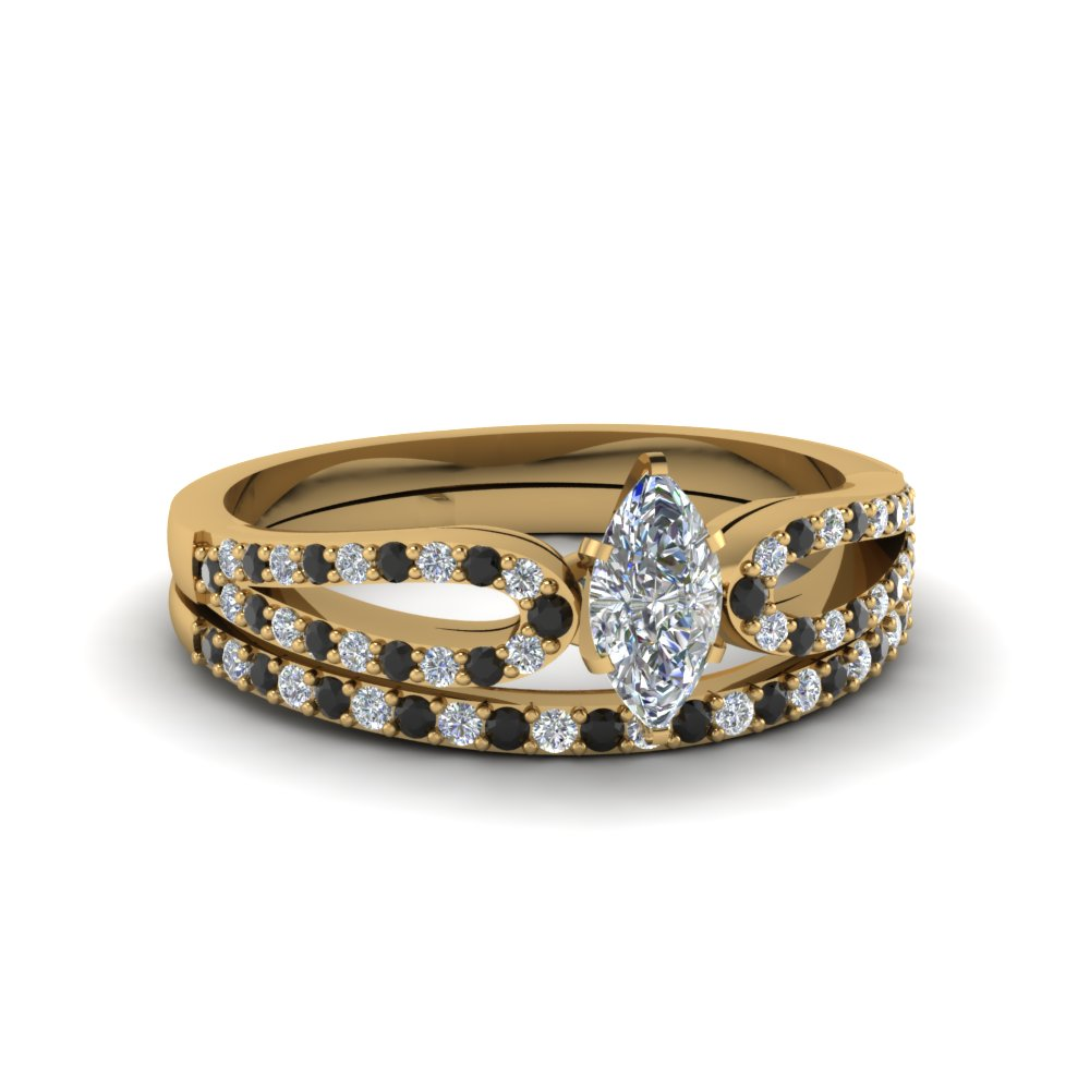 marquise cut loop ring with black diamond matching band in 14K yellow gold FDENS3323MQGBLACK NL YG