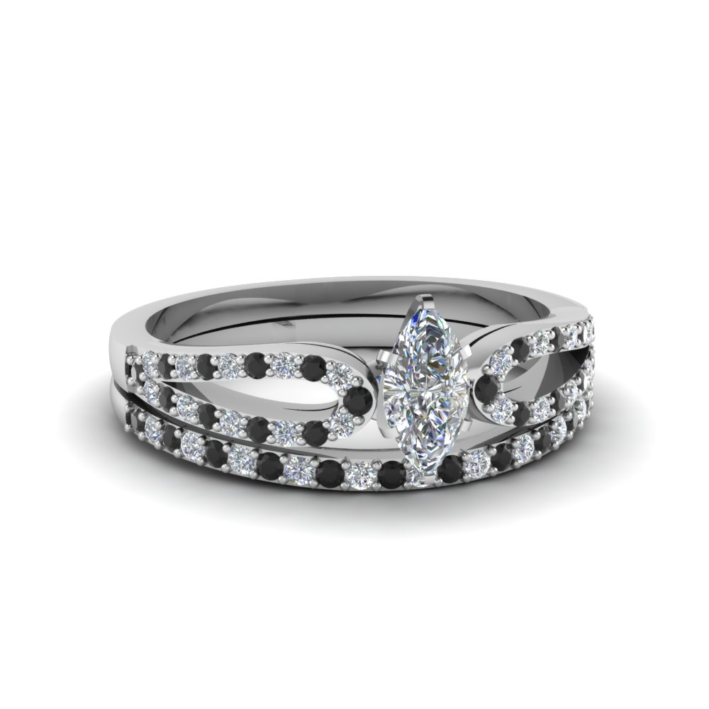marquise cut loop ring with black diamond matching band in 950 platinum FDENS3323MQGBLACK NL WG