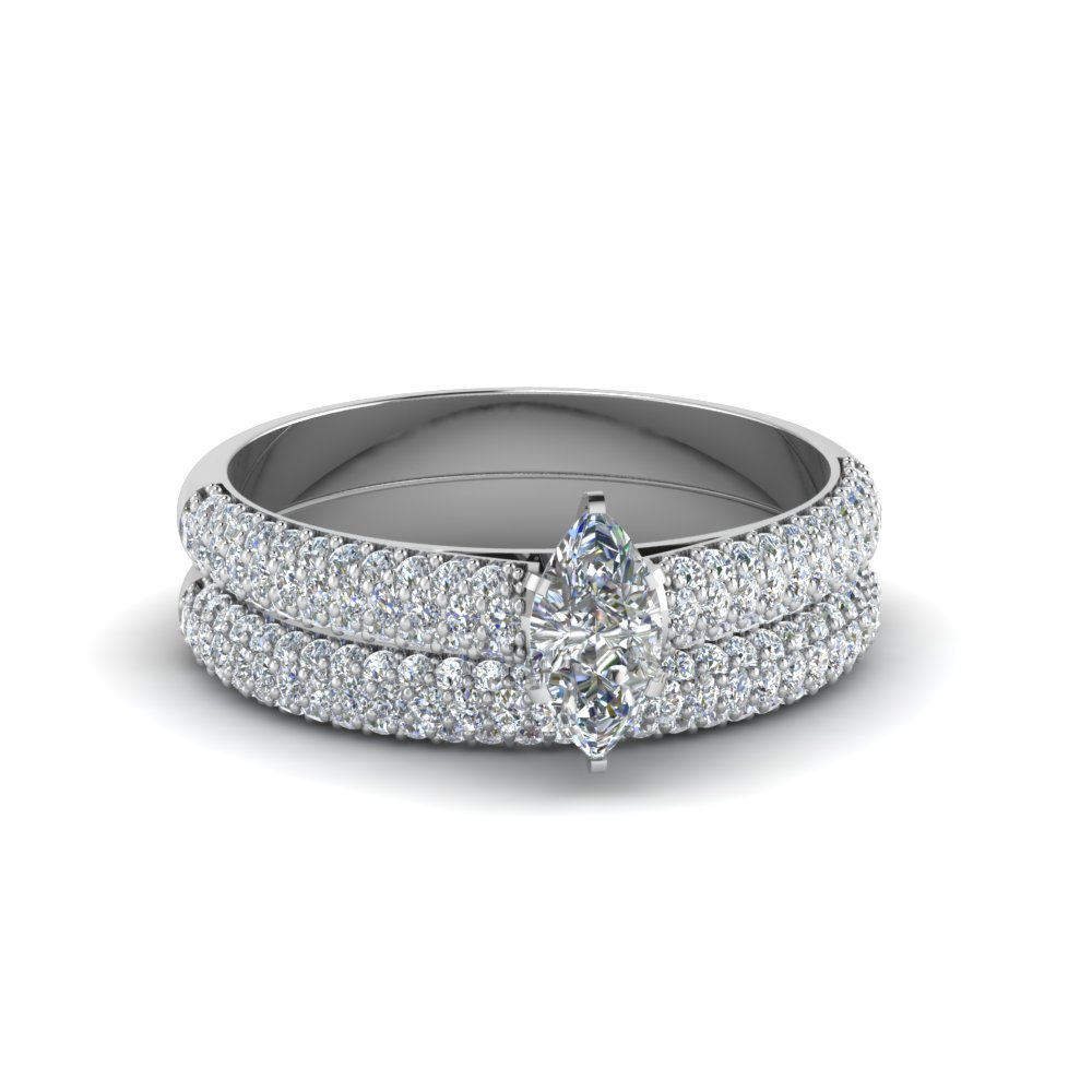 marquise cut micropave ring with wedding band in