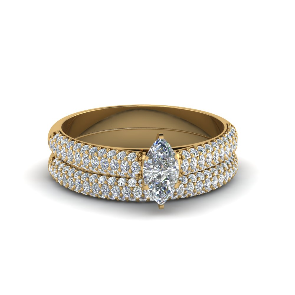 micro pave marquise cut diamond ring with band in 14K yellow gold FD8254MQ NL YG