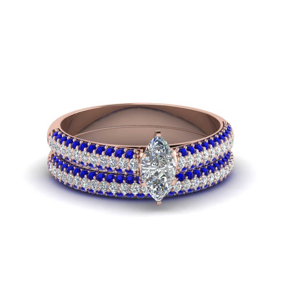 Accent Sapphire Pave Ring Set