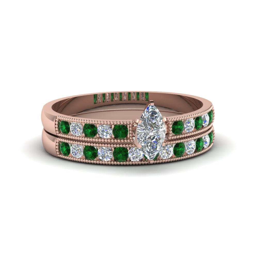 marquise cut milgrain design diamond wedding set with emerald in 14K rose gold FDENS3054MQGEMGR NL RG