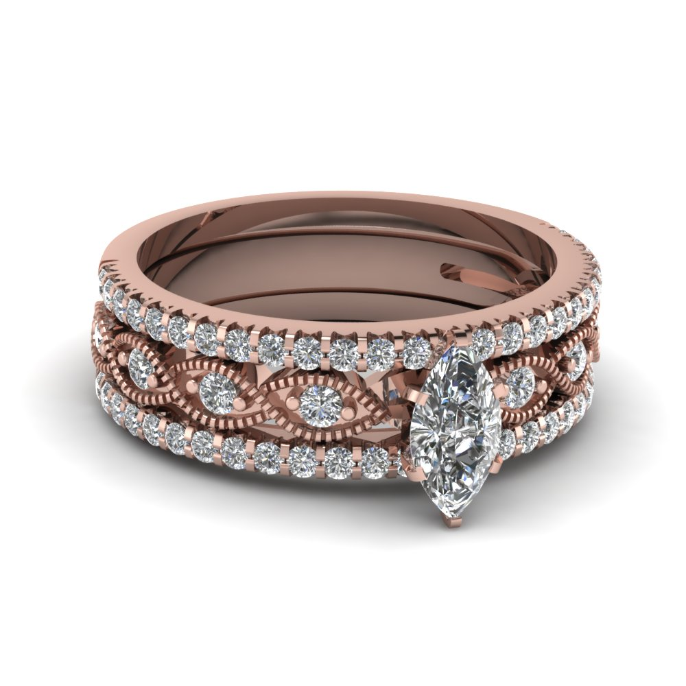 flat milgrain rose gold trio wedding ring set - Rose Gold Wedding Ring Set