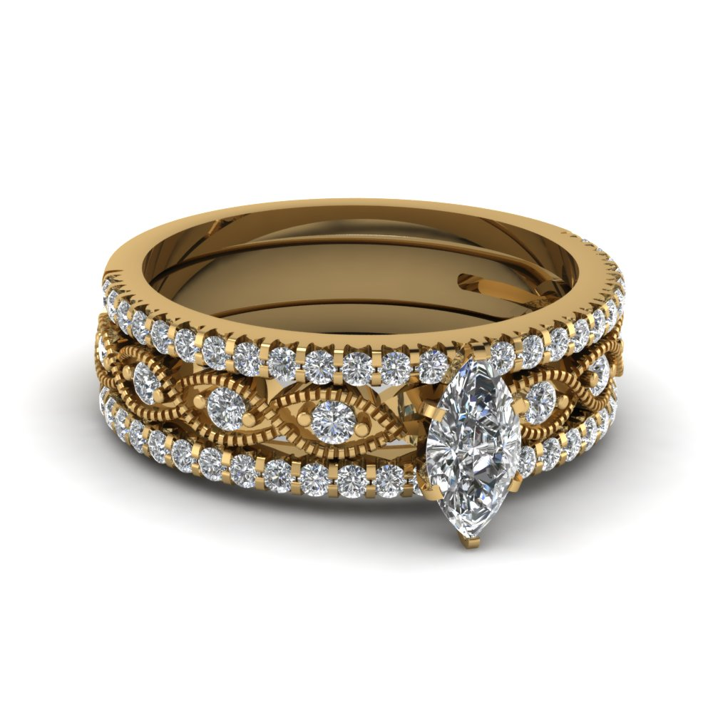 marquise cut milgrain diamond bridal sets in 14k yellow gold fd8037tmq nl yg - Bridal Set Wedding Rings