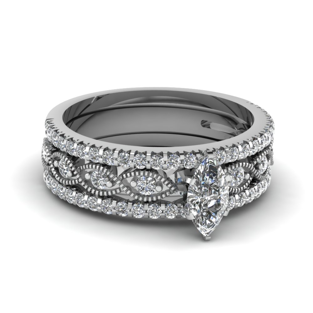 marquise cut milgrain diamond bridal sets in 950 Platinum FD8037TMQ NL WG