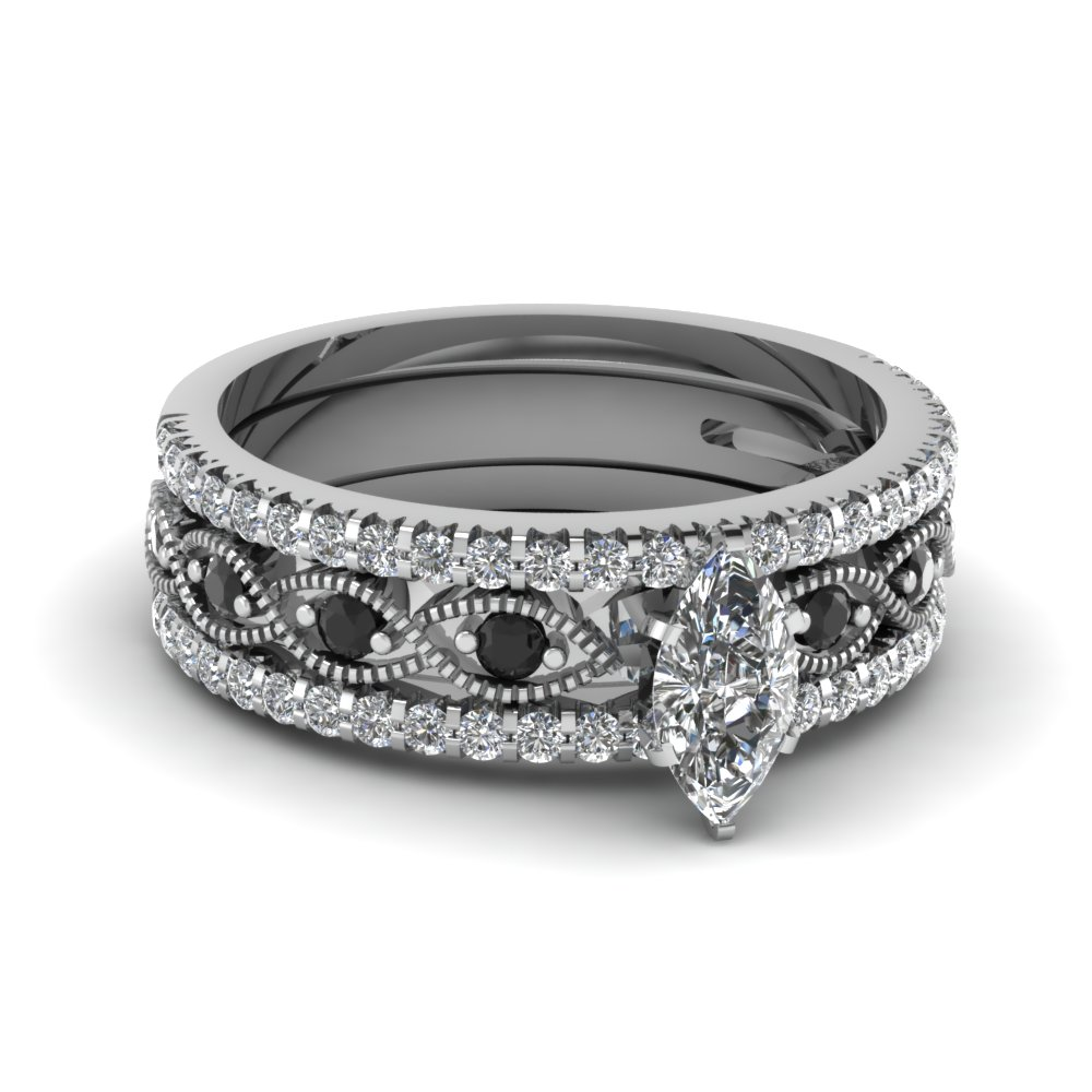 marquise shaped diamond trio wedding ring sets with black diamond in 18k white gold - Black Diamond Wedding Ring Sets