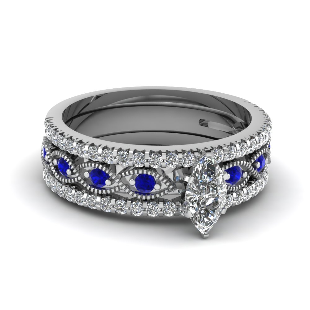 Marquise cut milgrain diamond bridal sets with blue for Blue sapphire wedding ring set