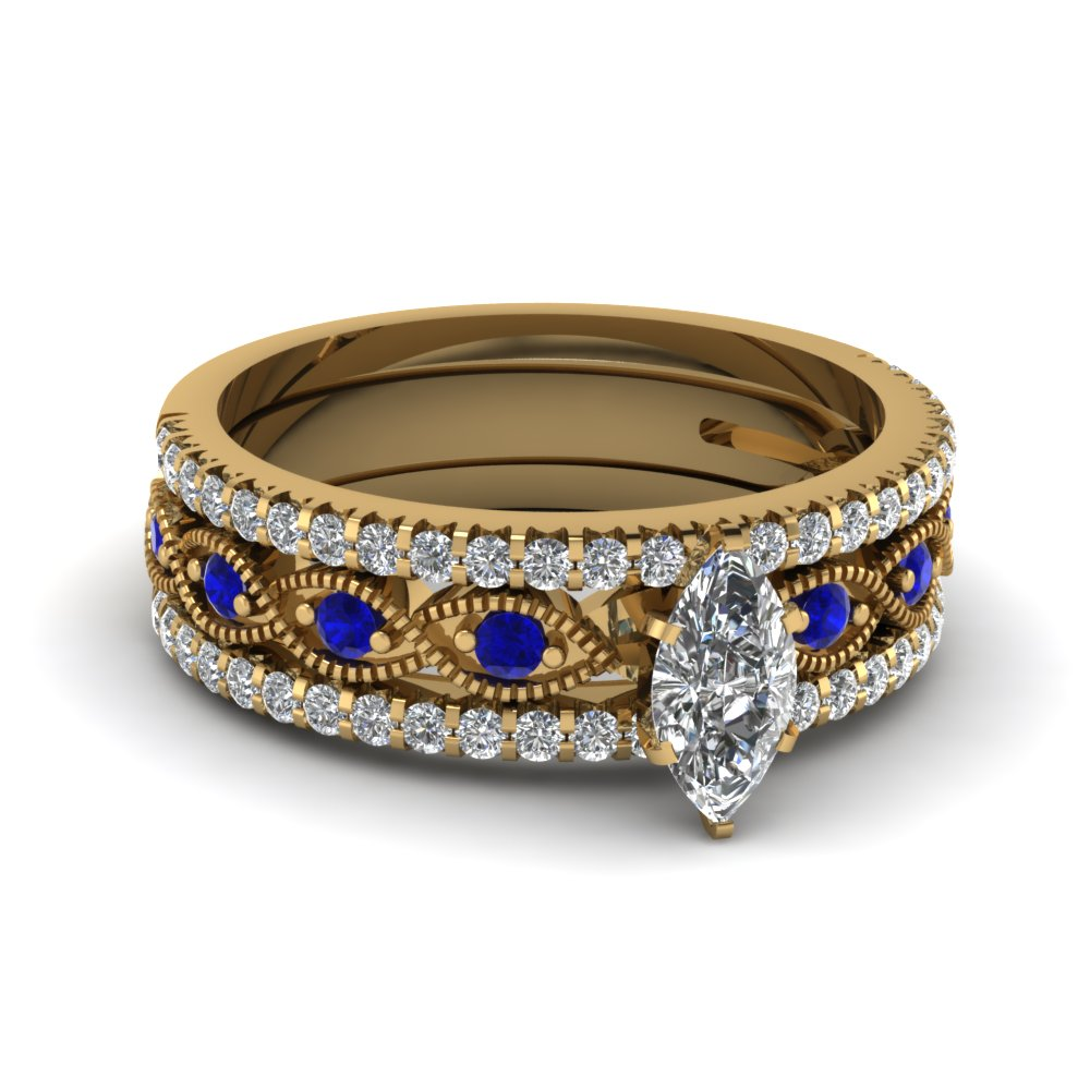 marquise cut milgrain diamond bridal sets with blue sapphire in 14K yellow gold FD8037TMQGSABL NL YG