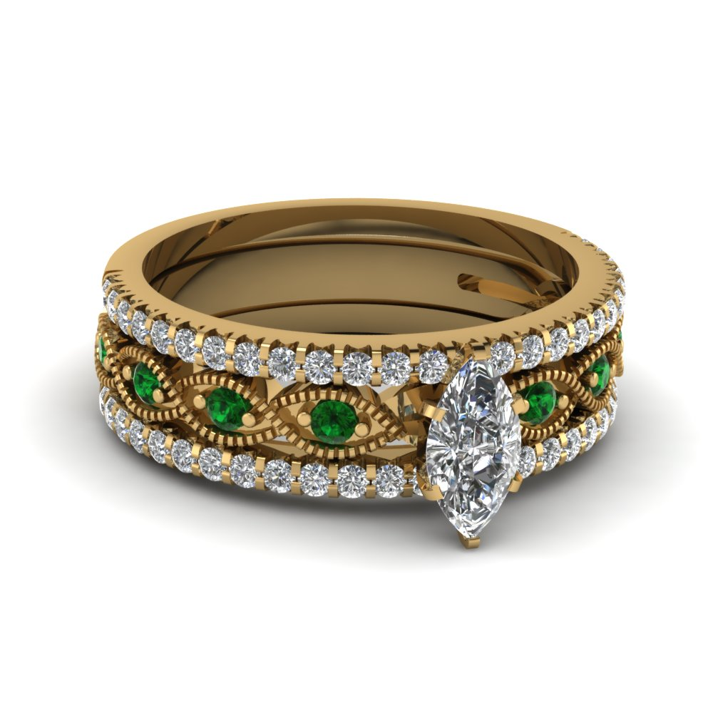 marquise cut milgrain diamond bridal sets with emerald in 14K yellow gold FD8037TMQGEMGR NL YG