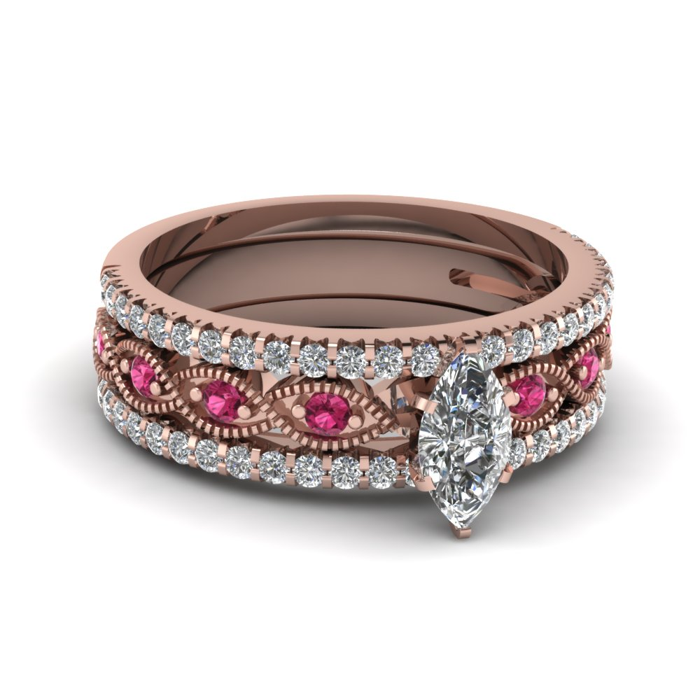marquise cut milgrain moissanite trio bridal sets with pink sapphire in 14K rose gold FD8037TMQGSADRPI NL RG
