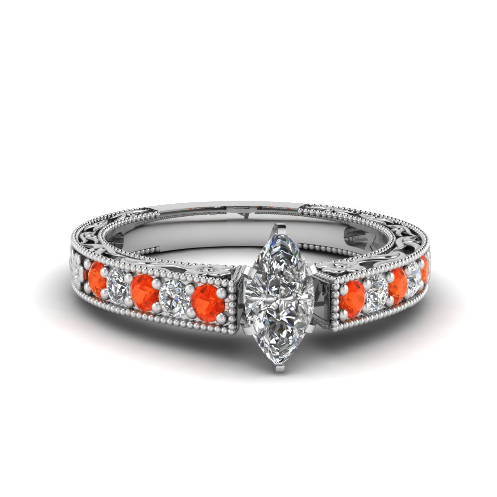 marquise cut milgrain pave diamond engagement ring with orange topaz in FDENS3506MQRGPOTO NL WG