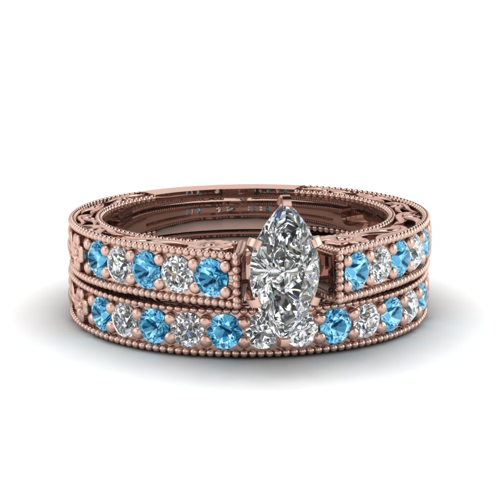 marquise cut milgrain pave diamond wedding ring sets with blue topaz in FDENS3506MQGICBLTO NL RG