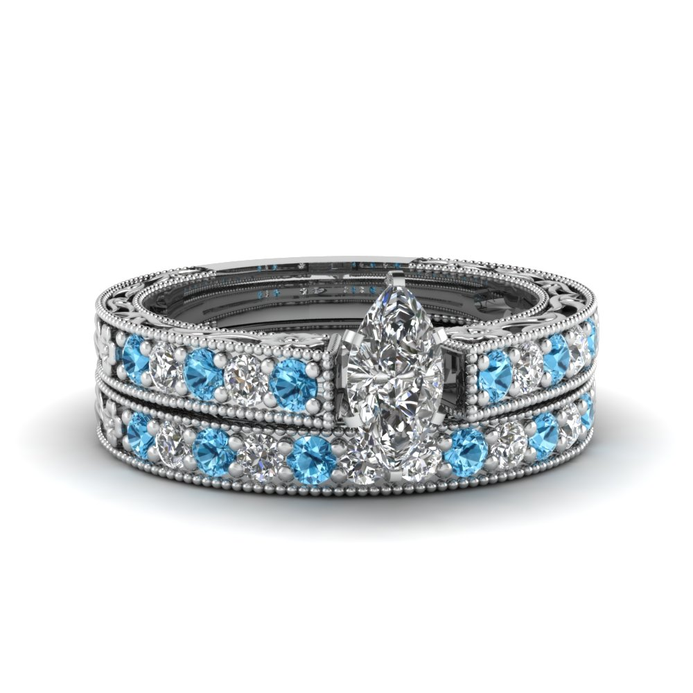 marquise cut milgrain pave lab diamond wedding ring sets with blue topaz in FDENS3506MQGICBLTO NL WG