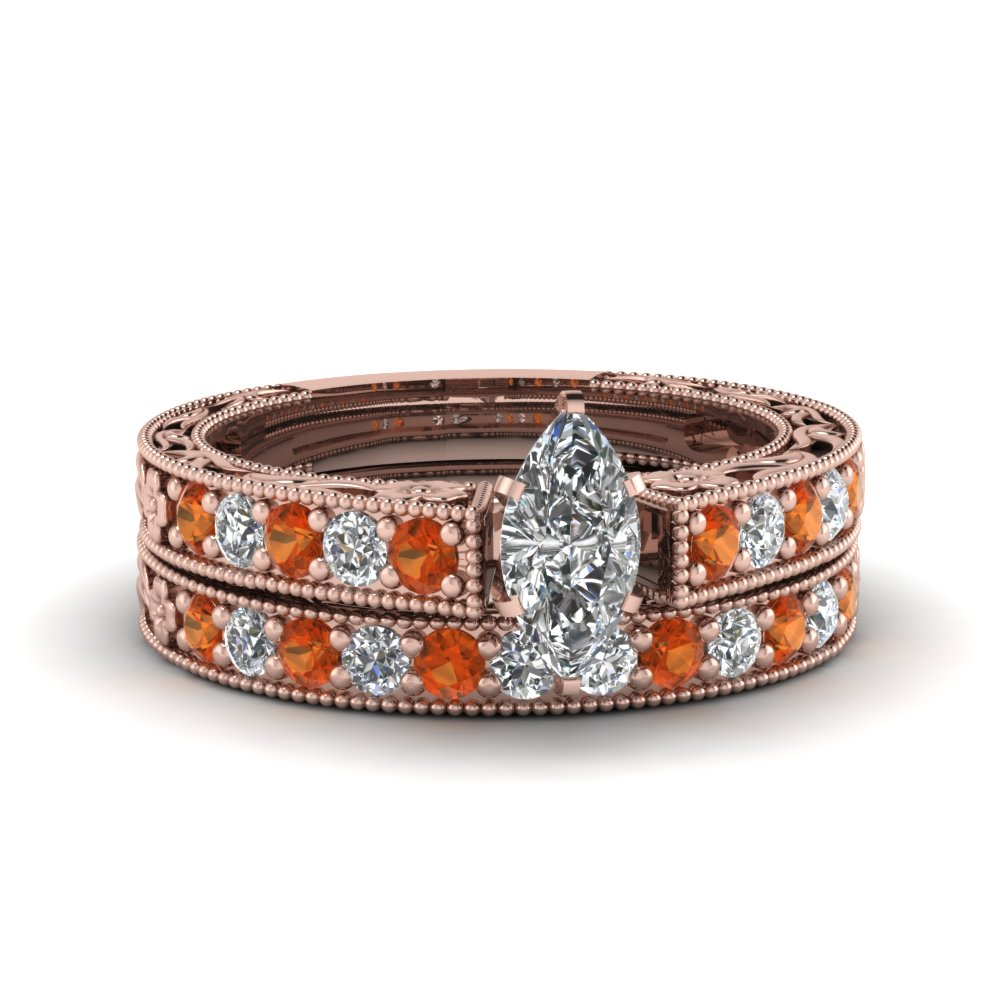 marquise cut milgrain pave diamond wedding ring sets with orange sapphire in FDENS3506MQGSAOR NL RG