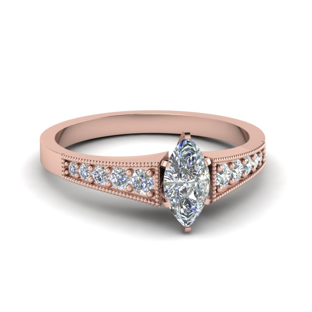 Milgrain 18k Rose Gold Marquise Diamond Ring