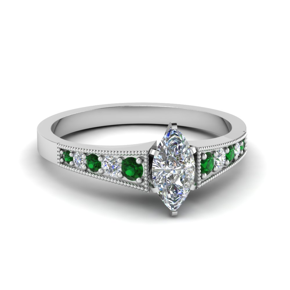 Pave Set Marquise Diamond Emerald Ring
