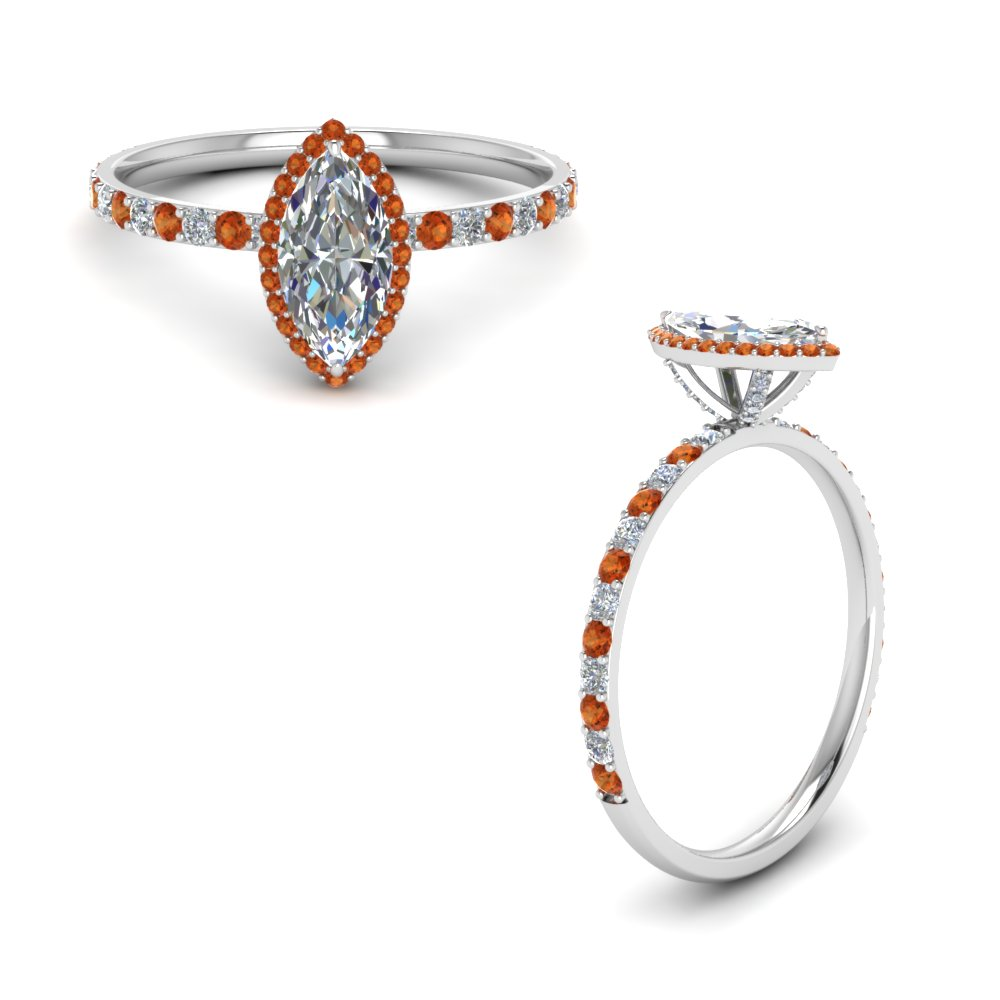 Marquise Halo Orange Sapphire Engagement Ring