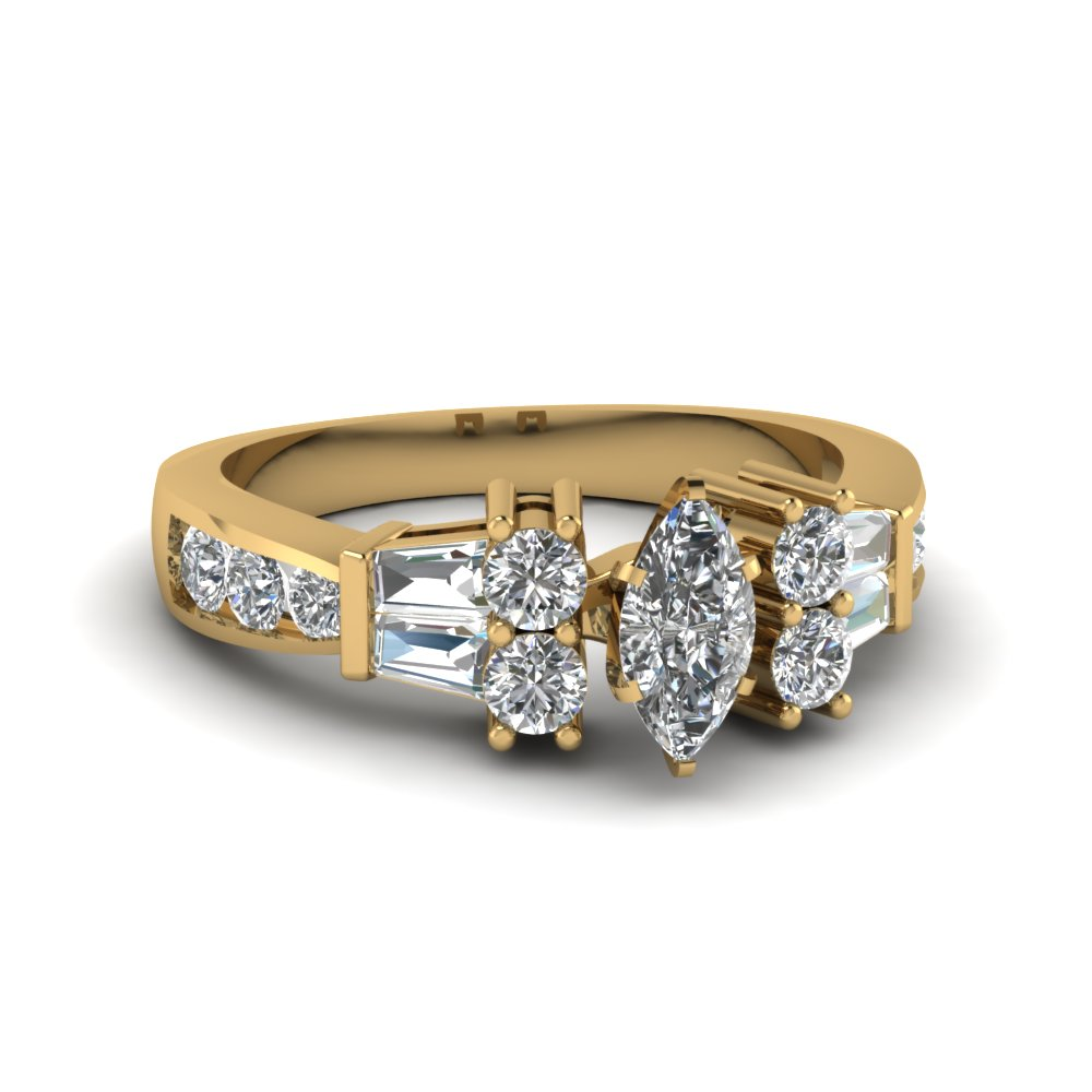 Marquise Cut Diamond Side Stone Rings