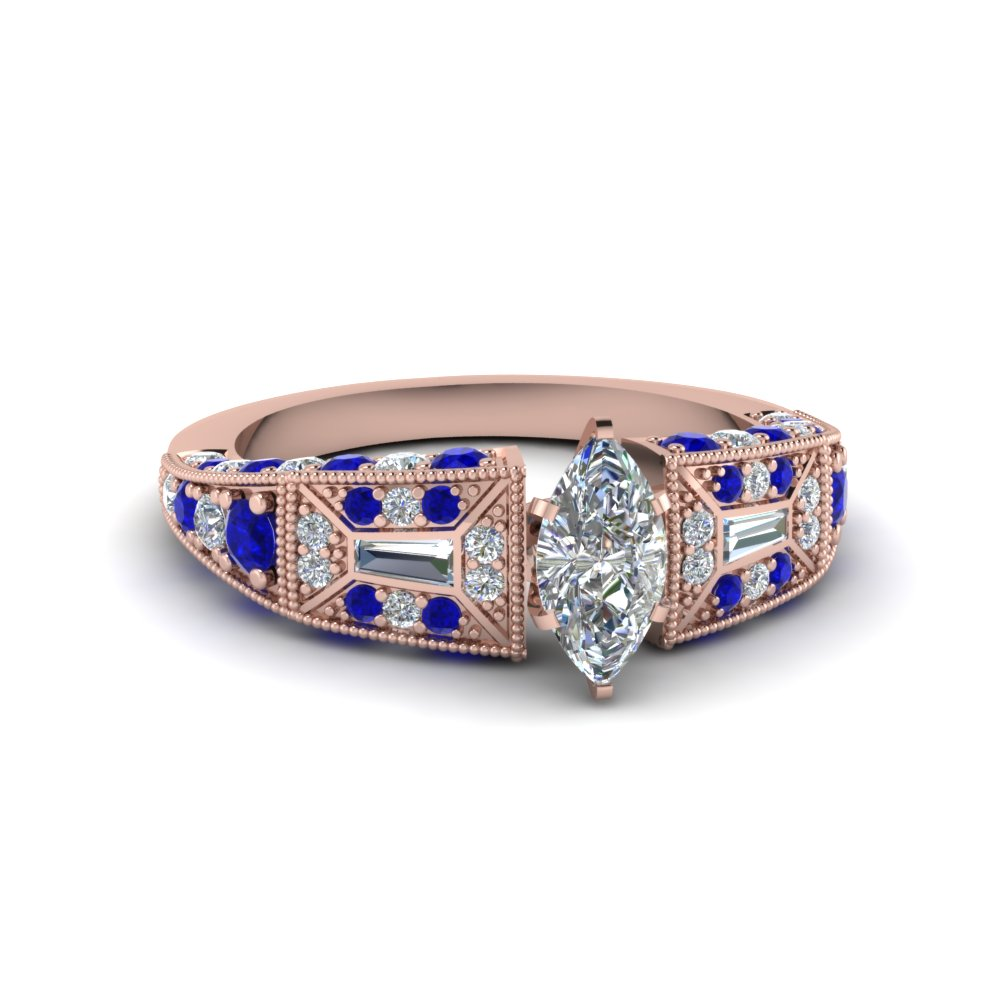 marquise cut victorian vintage style diamond engagement ring with sapphire in FDENR8601MQRGSABL NL RG