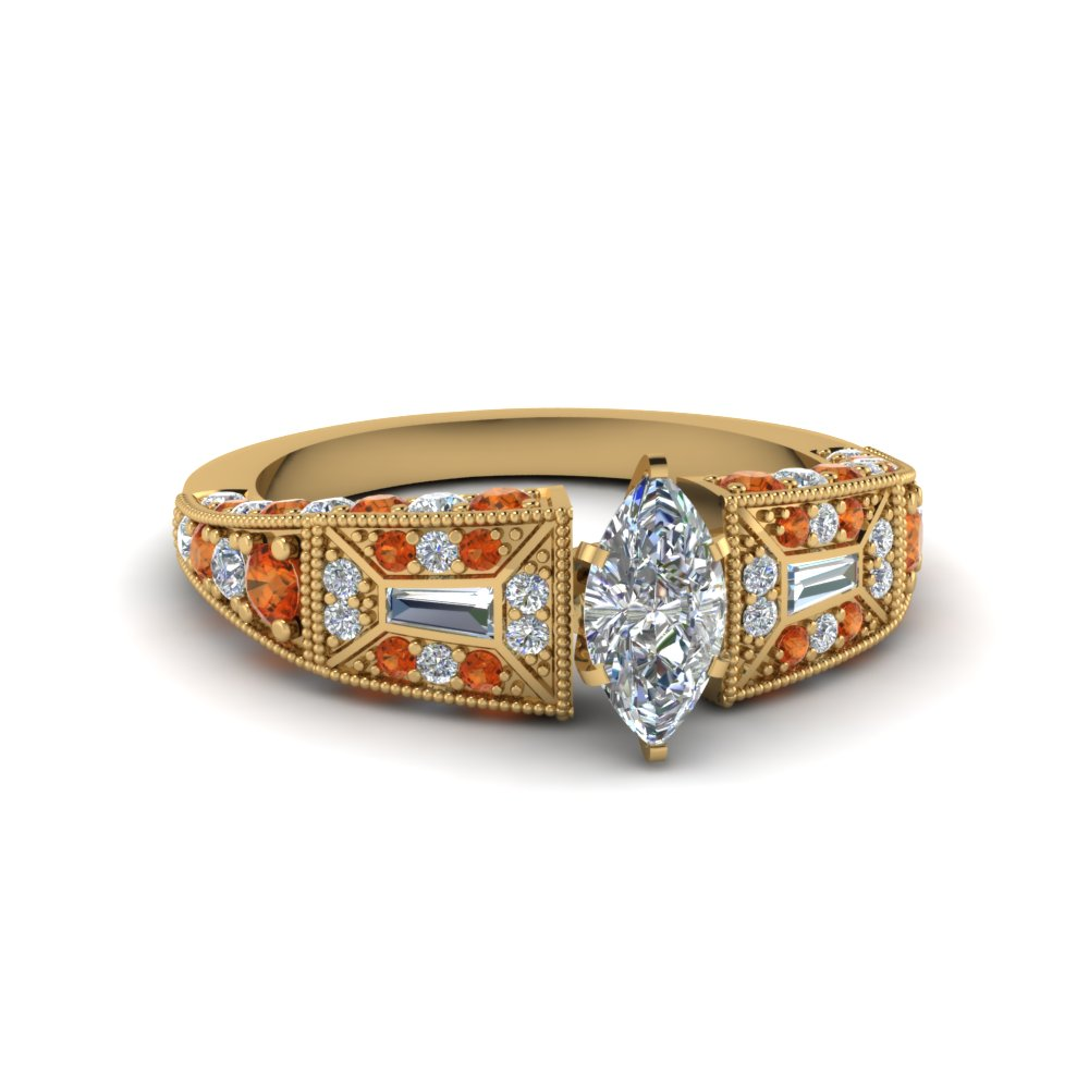 marquise cut victorian vintage style diamond engagement ring with orange sapphire in FDENR8601MQRGSAOR NL YG