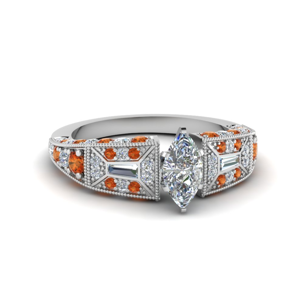 marquise cut victorian vintage style diamond engagement ring with orange sapphire in FDENR8601MQRGSAOR NL WG