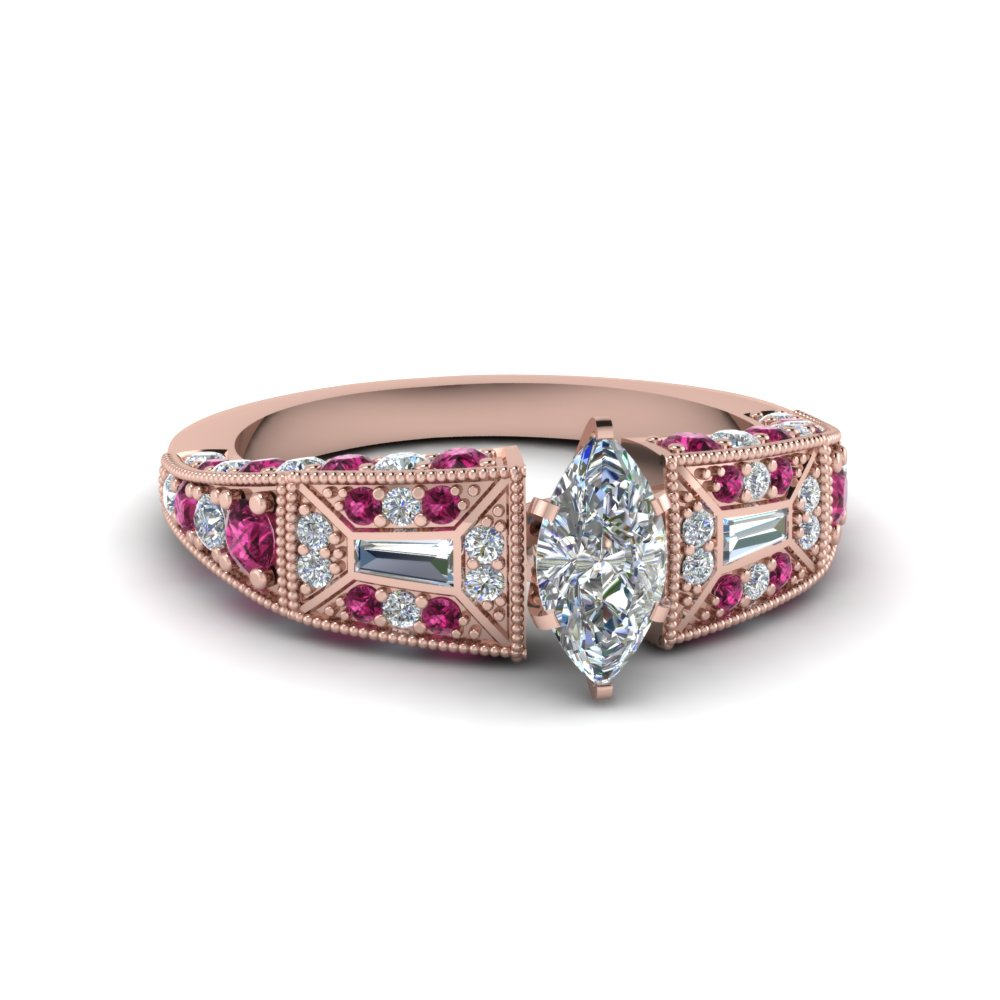 marquise cut victorian vintage style diamond engagement ring with pink sapphire in FDENR8601MQRGSADRPI NL RG